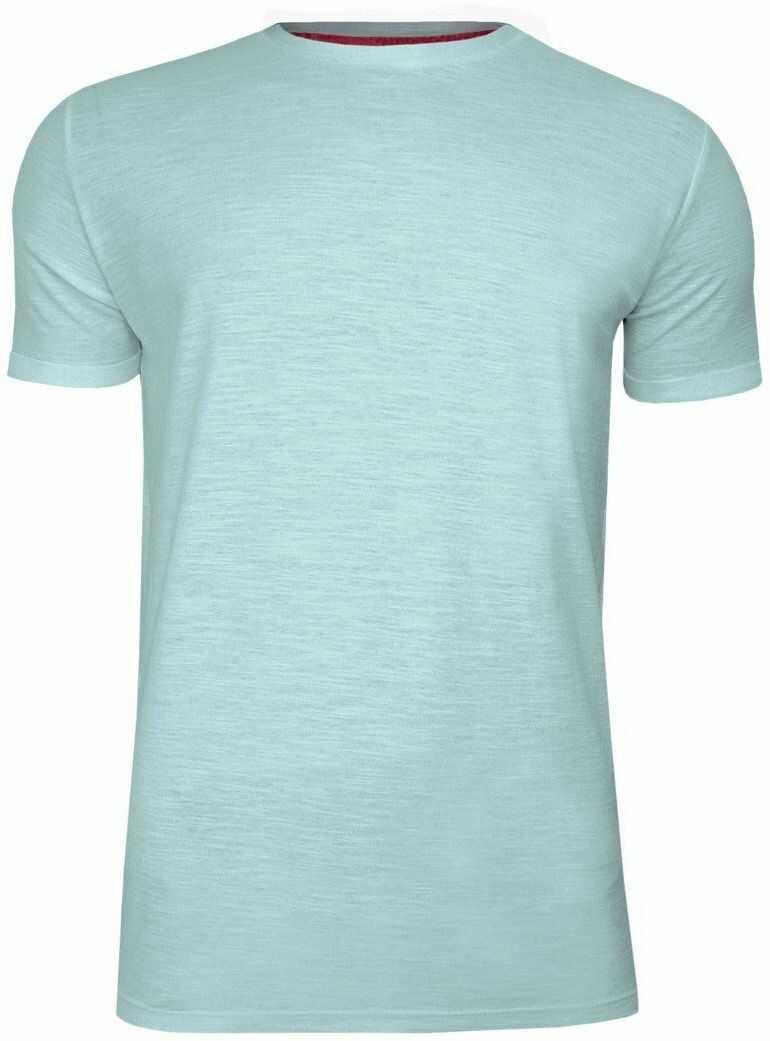 Miętowy Melanżowy Bawełniany T-Shirt Męski Bez Nadruku -Brave Soul- Koszulka, Krótki Rękaw, Basic TSBRSSS20REPLAYpalegreen