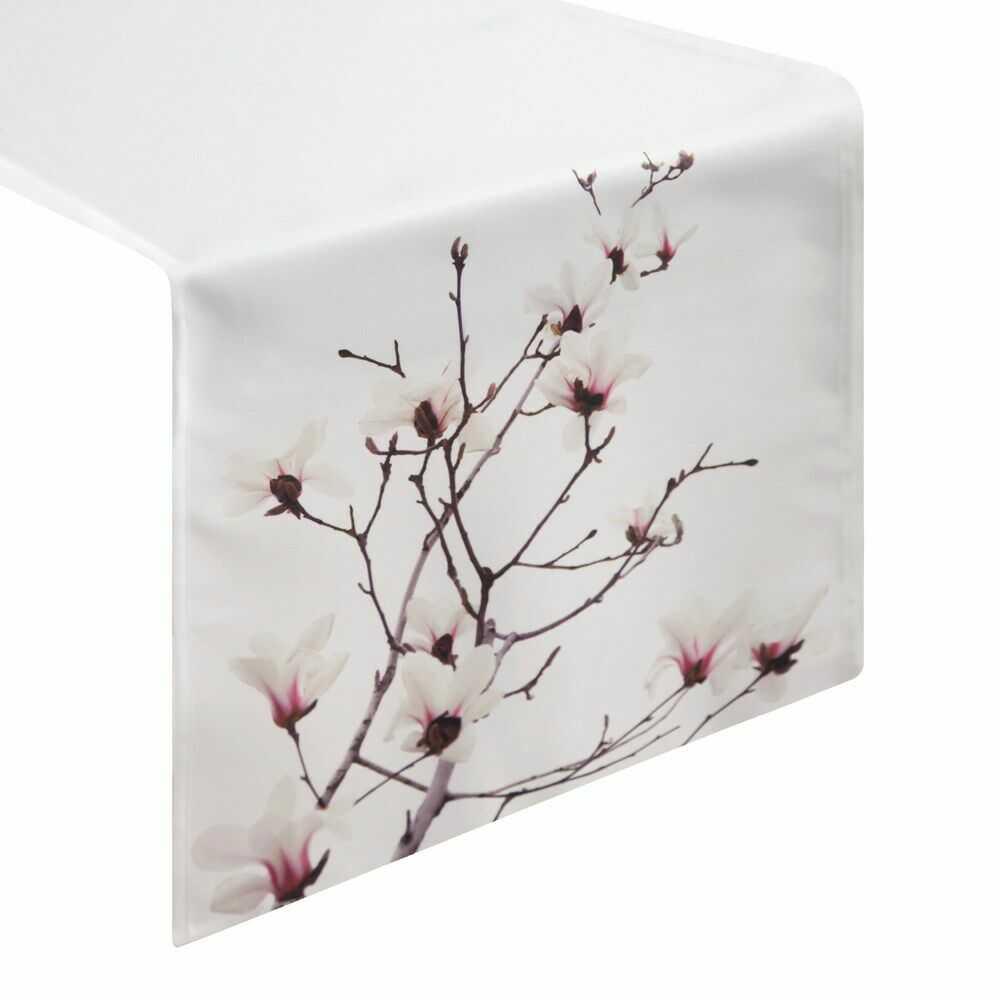 Obrus dekoracyjny 40x180cm. Lori kremowy brązowy kwiaty Eurofirany