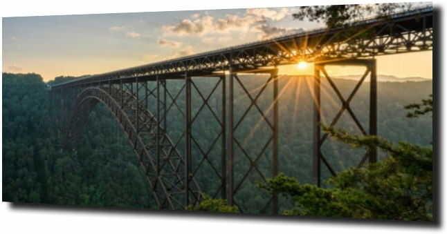 obraz na szkle, panel szklany Most w górach