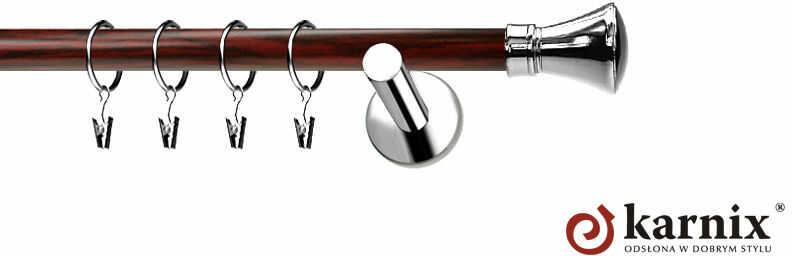 Karnisze Nowoczesne NEO Prestige pojedynczy 19mm Liberty INOX - mahoń