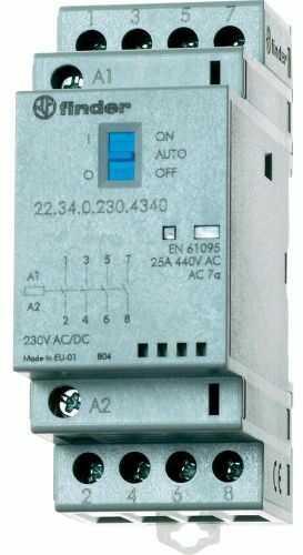 Stycznik modułowy 4 zwierne Auto-On-Off,+ LED, 4NO 25A 230V AC/DC, 22.34.0.230.4340