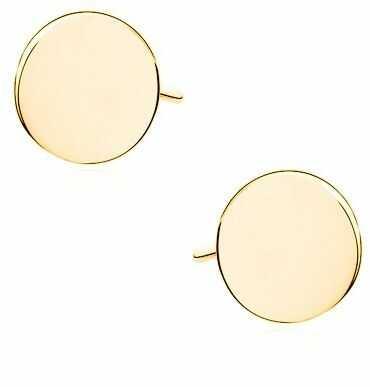 Delikatne pozłacane srebrne gładkie kolczyki celebrytka pełne kółko kółeczko ring coin srebro 925 Z1539EG