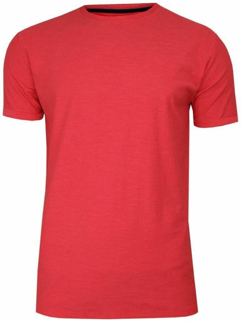 Koralowy Bawełniany T-Shirt Męski Bez Nadruku -Brave Soul- Czerwona Koszulka, Krótki Rękaw, Melanż TSBRSSS20REPLAYcoral