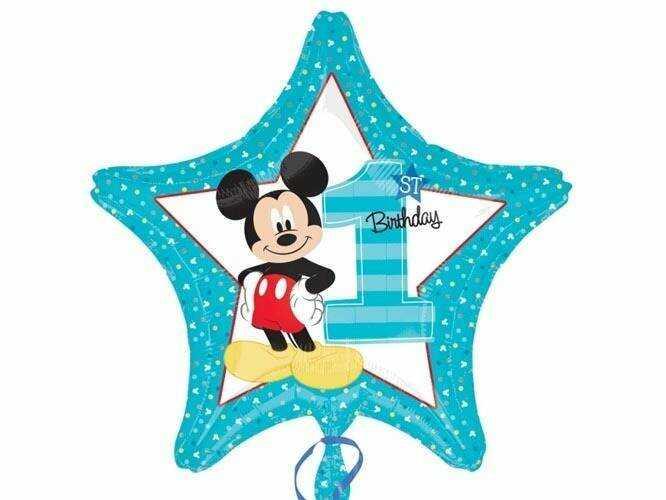 Balon foliowy na roczek Myszka Mickey - 43 cm - 1 szt.