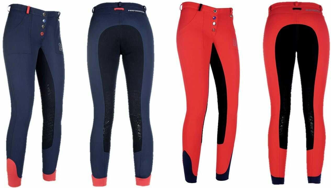 HKM spodnie jeździeckie Performance 3/4 Alos obszyte spodnie, 3000 czerwony, 176