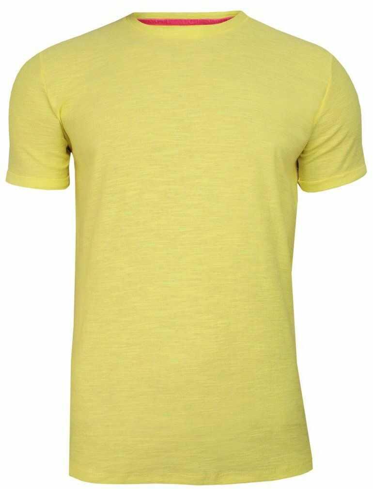 Żółty Bawełniany T-Shirt Męski Bez Nadruku -Brave Soul- Koszulka, Krótki Rękaw, Basic, Melanżowy TSBRSSS20REPLAYcitrus
