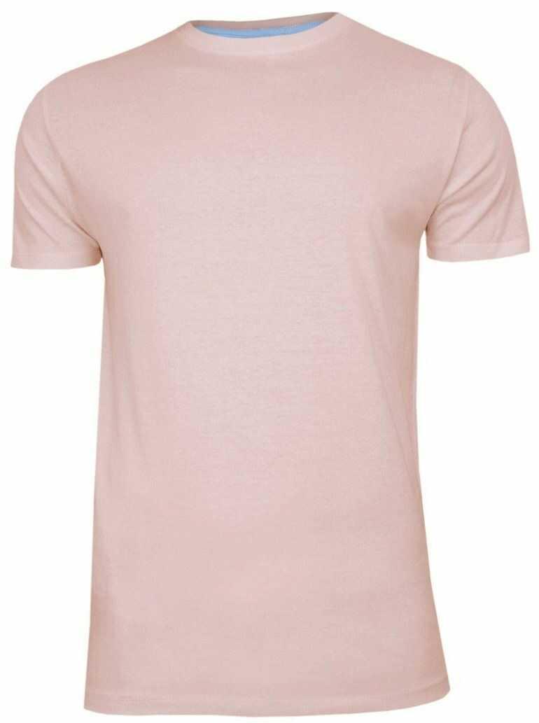 Różowy Bawełniany T-Shirt Męski Bez Nadruku -Brave Soul- Pudrowa Koszulka, Krótki Rękaw, Basic TSBRSSS20GRAILsummerpink