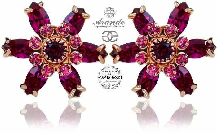 Swarovski Przepiękne Kolczyki Fuchsia Azure Rose Gold