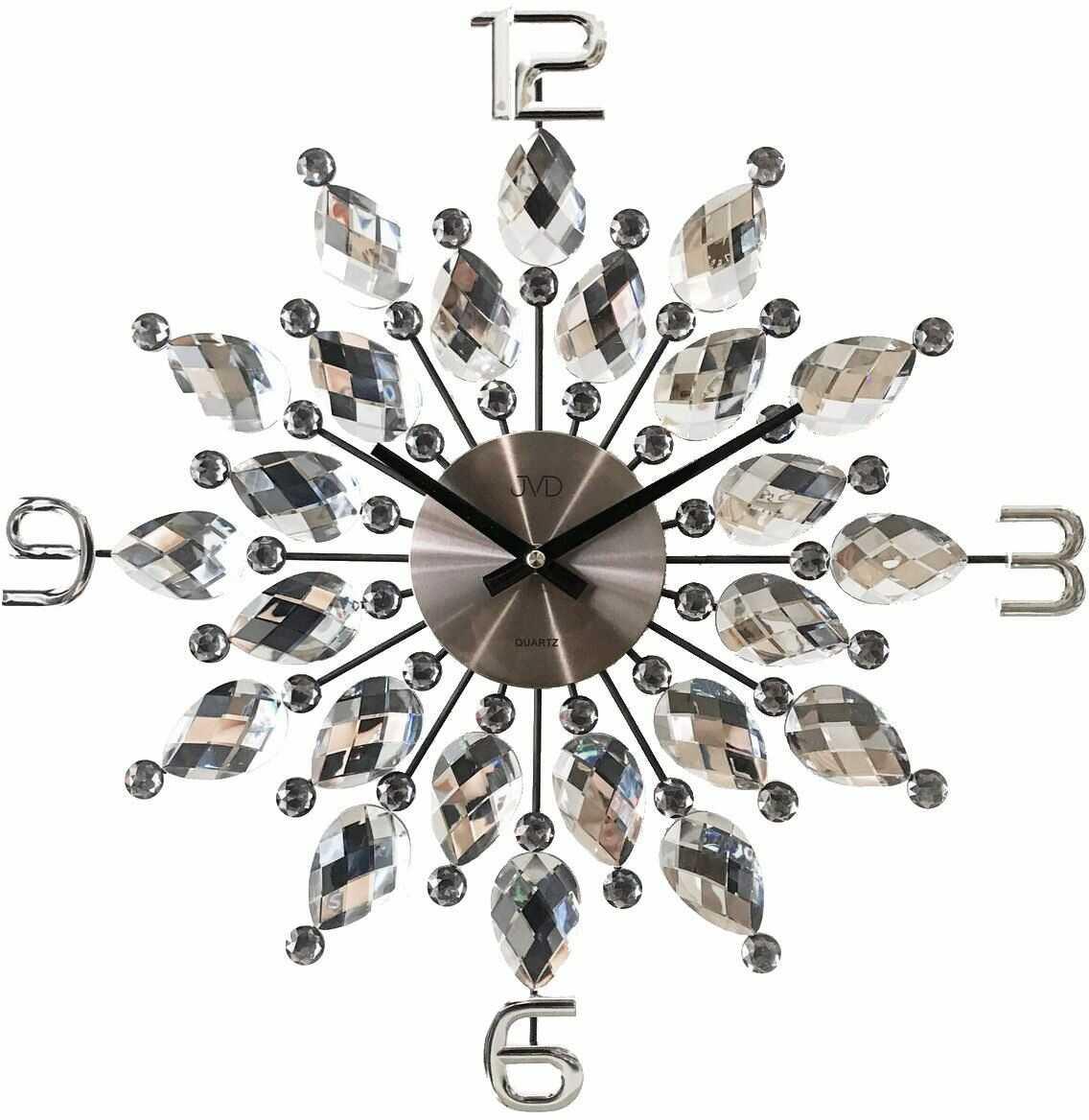 Zegar ścienny z kryształkami JVD HT54.1 średnica 49 cm