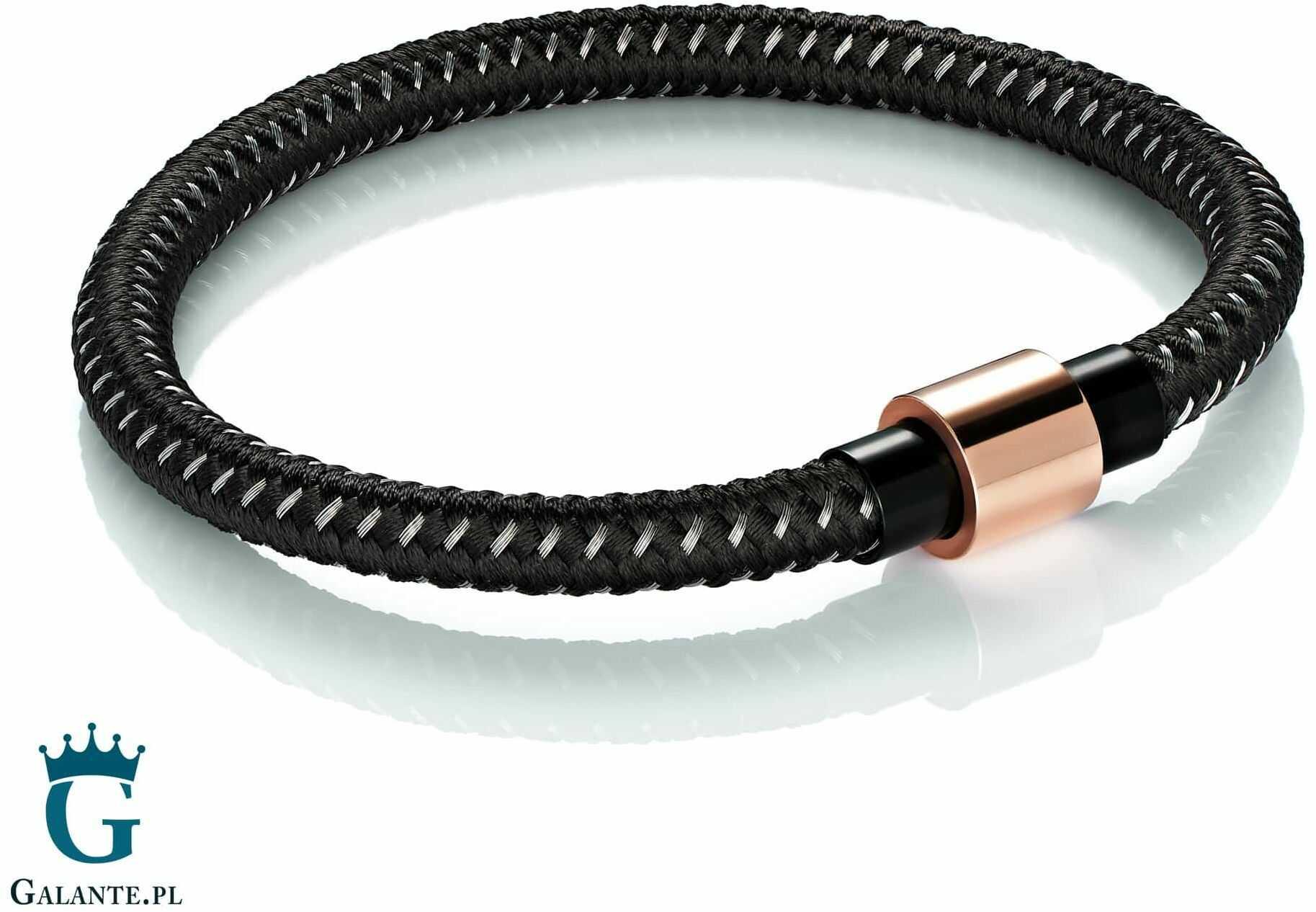 Czarna bransoletka z liny zapięcie różowe złoto tx1784-blk