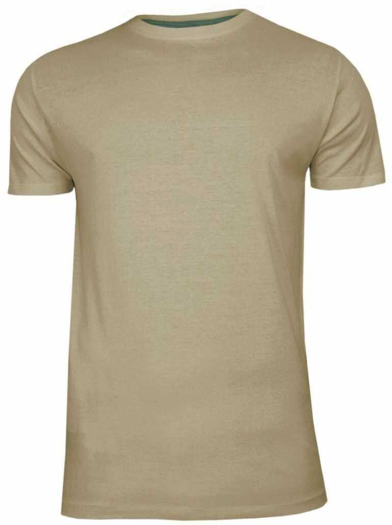 Beżowy Bawełniany T-Shirt Męski Bez Nadruku -Brave Soul- Koszulka, Krótki Rękaw, Basic TSBRSSS20GRAILmushroom