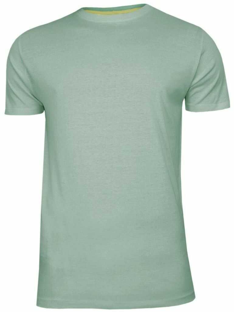 Miętowy Bawełniany T-Shirt Męski Bez Nadruku -Brave Soul- Zielona Koszulka, Krótki Rękaw, Basic TSBRSSS20GRAILmintgreen