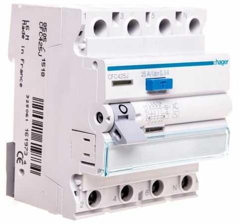Wyłącznik różnicowoprądowy 4P 25A 0,3A typ AC CFC425J