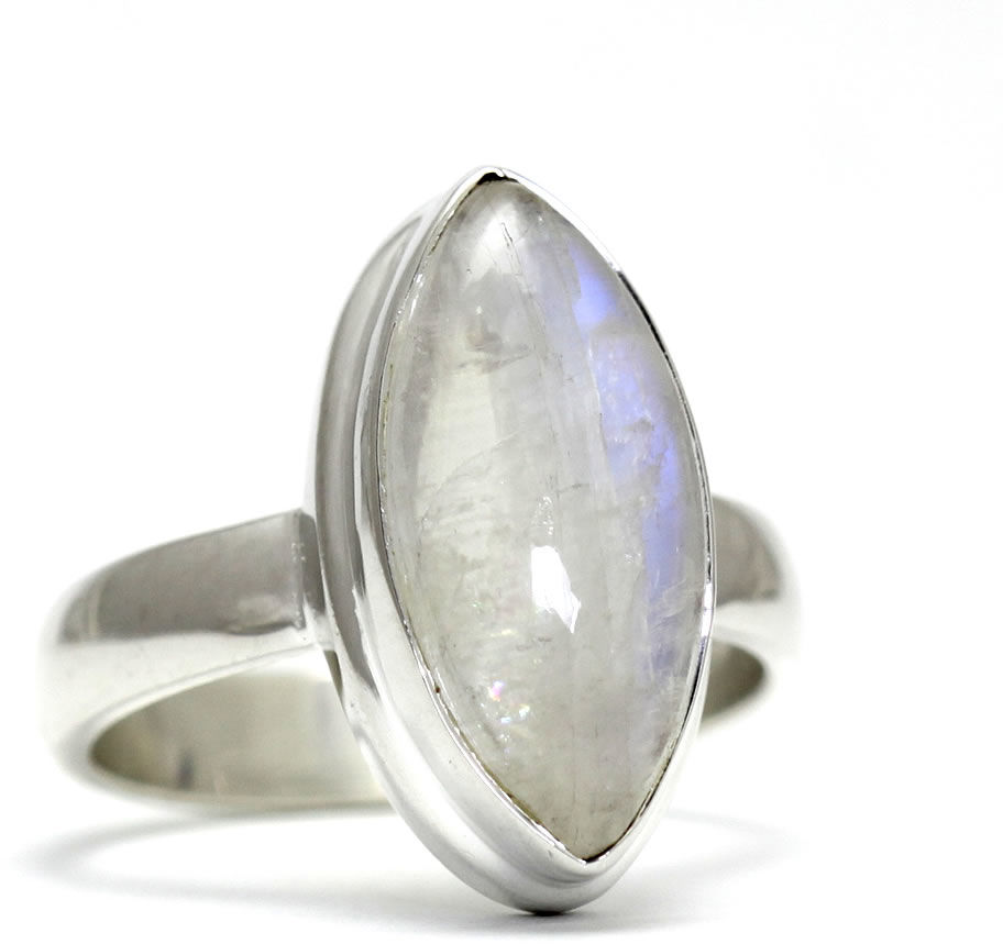 Kuźnia Srebra - Pierścionek srebrny, rozm. 19, Kamień Księżycowy, 7g, model
