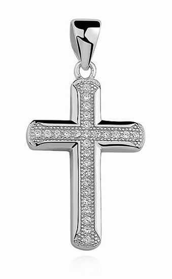 Rodowany srebrny krzyżyk krzyż cyrkonia cyrkonie srebro 925 Z0802