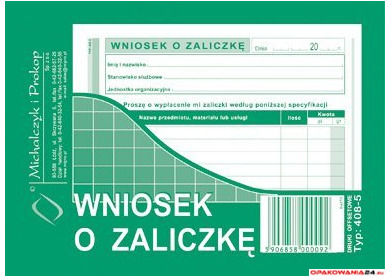 408-5 Wniosek o zaliczkę MICHALCZYK&PROKOP A6 40 kartek