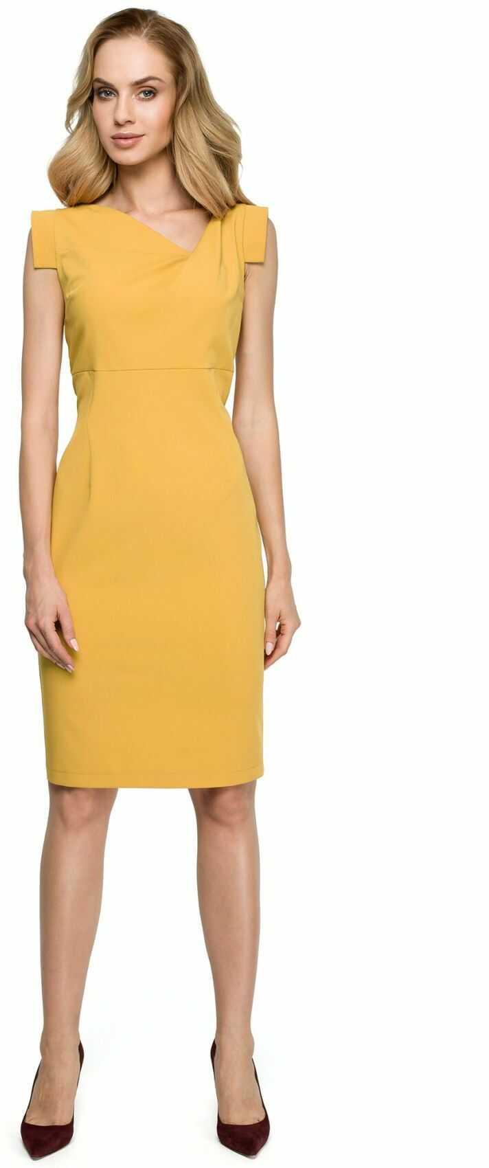 S121 Sukienka z asymetrycznym dekoltem - żółta
