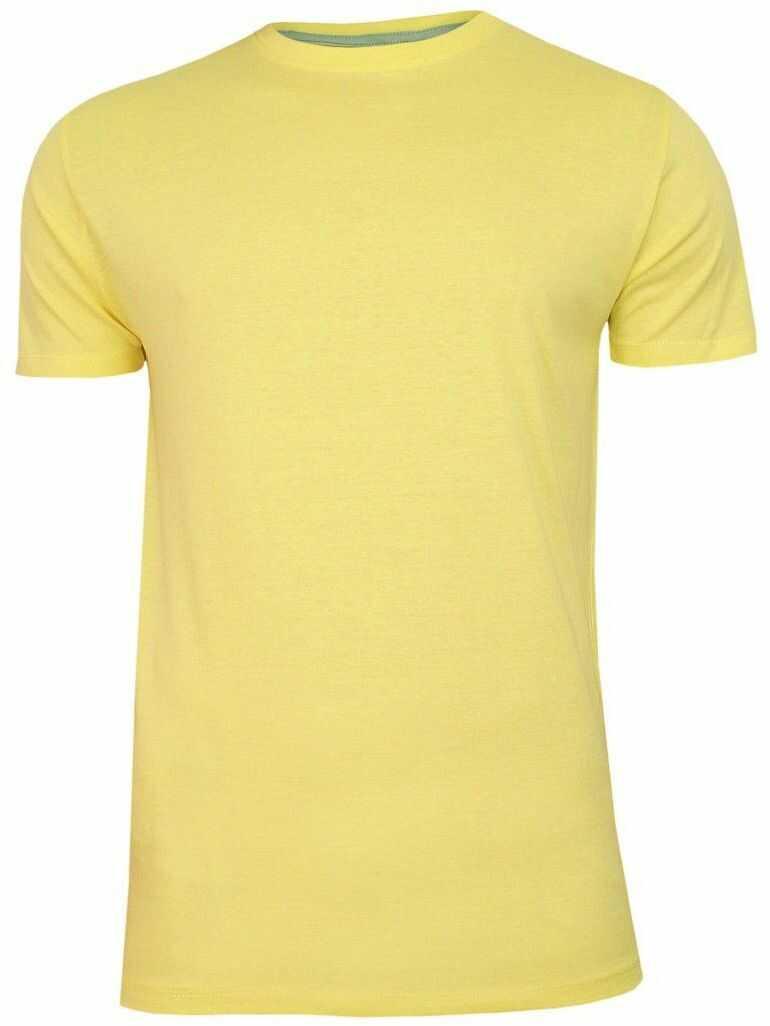 Żółty Bawełniany T-Shirt Męski Bez Nadruku -Brave Soul- Koszulka, Krótki Rękaw, Basic TSBRSSS20GRAILcitrus