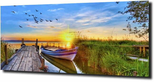 obraz na szkle Przystań o zacchodzie słońca