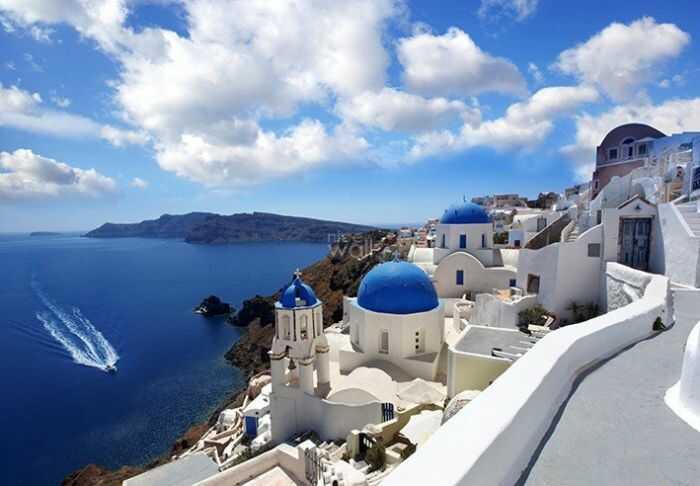 Fototapeta do salonu - Panorama Santorini, Grecja ! Klej Gratis!