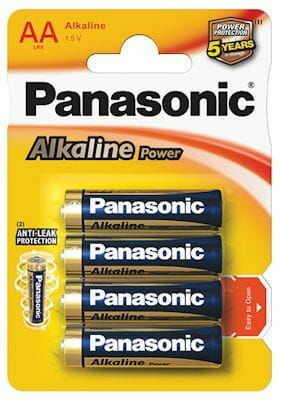 4 x Panasonic alkaline power LR6/AA (blister)