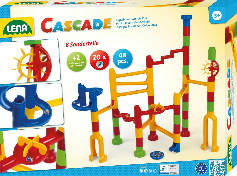 Lena 65290 Cascade Speed, kolejka murmowa z tworzywa sztucznego, moduł z 44 elementami torowymi i 20 kulkami, motoryka i zabawka konstrukcyjna dla dzieci od 3 lat, żółty, niebieski, czerwony, zielony
