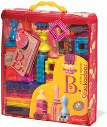 B Toys Bristle Blocks Stackadoos  68 bloków do zabawek w torbie do przechowywania  klocki STEM bez BPA dla dzieci od 2 roku życia