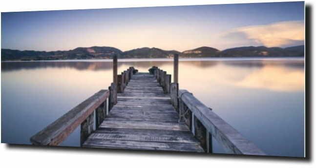obraz na szkle Drewniany pomost ja jeziorze 120X60
