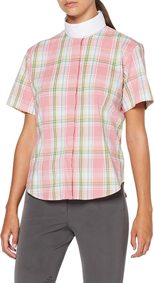 HKM damska bluzka do jazdy konnej, elastyczna, rękaw 1/4, różowy/biały/zielony w kratkę, M