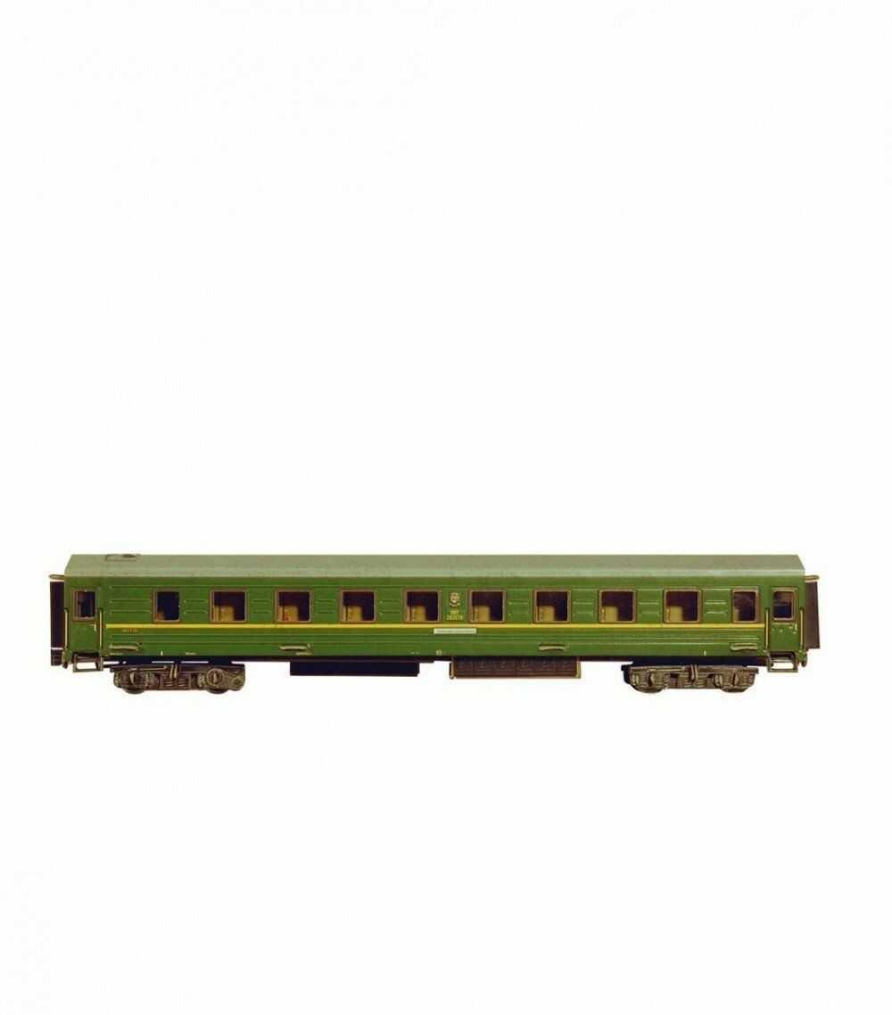 Keranova 295-02 Clever Papierowa kolekcja kolei 59-częściowy zestaw puzzli 3D do spania, 29 x 4 x 5,5 cm, waga 1/87, zielona, wielokolorowa