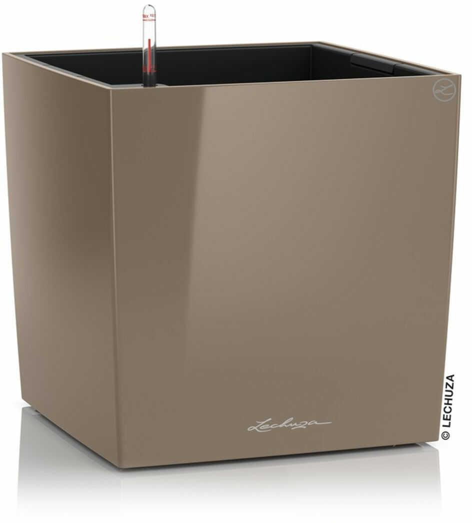 Donica Lechuza CUBE Premium 30 taupe-szarobrązowy połysk