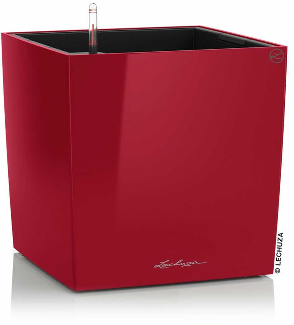 Donica Lechuza CUBE Premium 30 czerwony scarlet połysk
