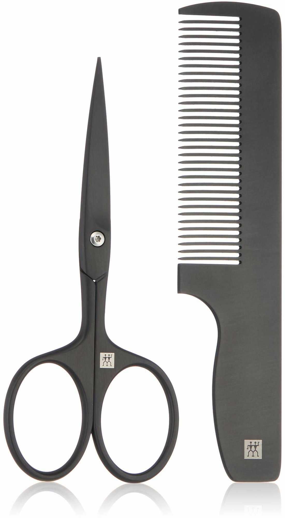 Zwilling Twinox M nożyczki do brody i grzebień etui kieszonkowe, 2-częściowy zestaw do pielęgnacji włosów na twarzy, skracanie kształtów, skóra bydlęca czarna