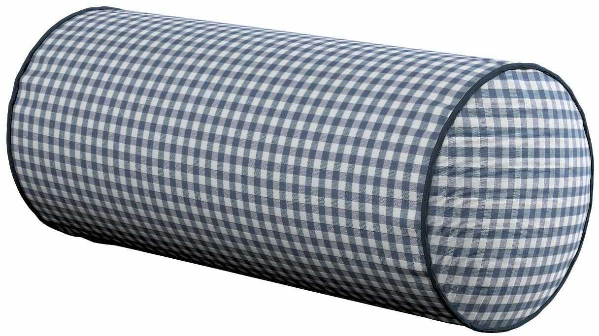Poduszka wałek prosty, granatowo biała krateczka (0,5x0,5cm), Ø16  40 cm, Quadro
