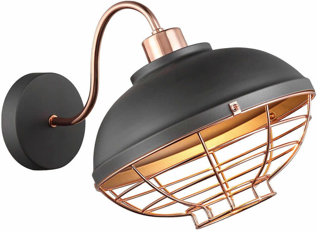 Italux Clams MBM-2941/1 GR+COP kinkiet lampa ścienna industrialna metalowa szary miedziany E27 1x40W IP20 24cm