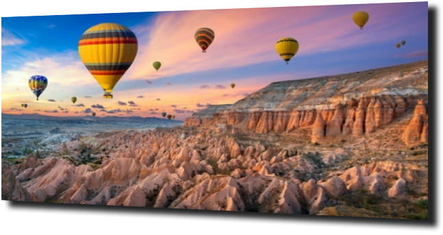 obraz na szkle Balony na niebie w Kapadocji