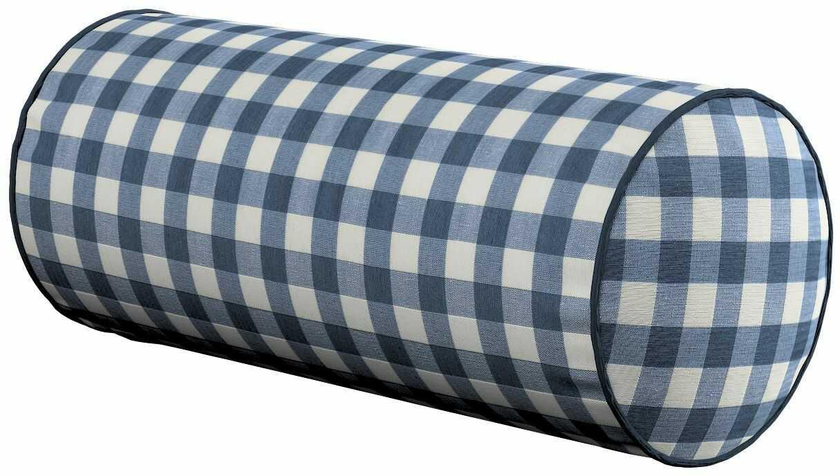 Poduszka wałek prosty, granatowo biała kratka (1,5x1,5cm), Ø16  40 cm, Quadro