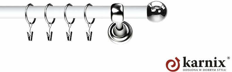 Karnisz Metalowy Prestige pojedynczy 19mm Kula INOX - biały