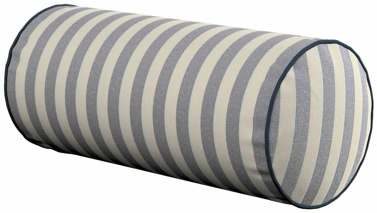 Poduszka wałek prosty, granatowo białe pasy (1,5cm), Ø16  40 cm, Quadro