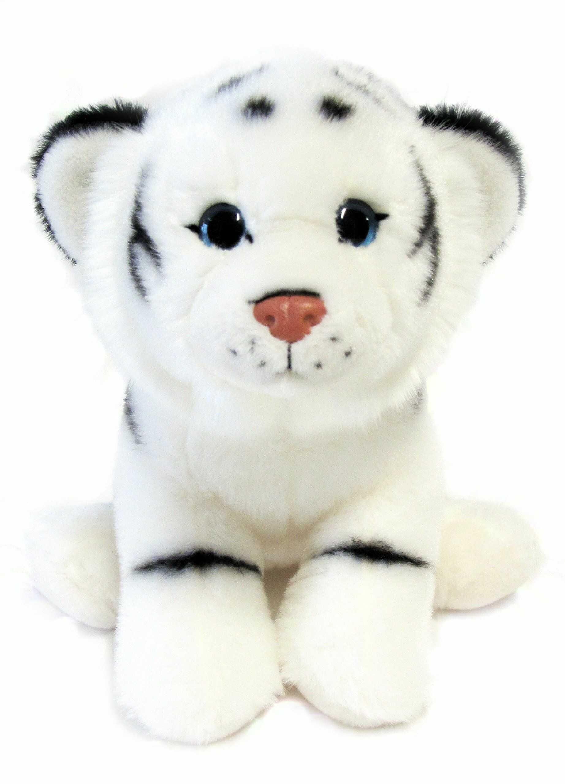 """Bauer Spielwaren """"Przyciągający wzrok"""" tygrys siedzący pluszowe zwierzątko: wierdzące w naturze, bardzo miękkie, idealne również jako prezent, 25 cm, białe (10247)"""