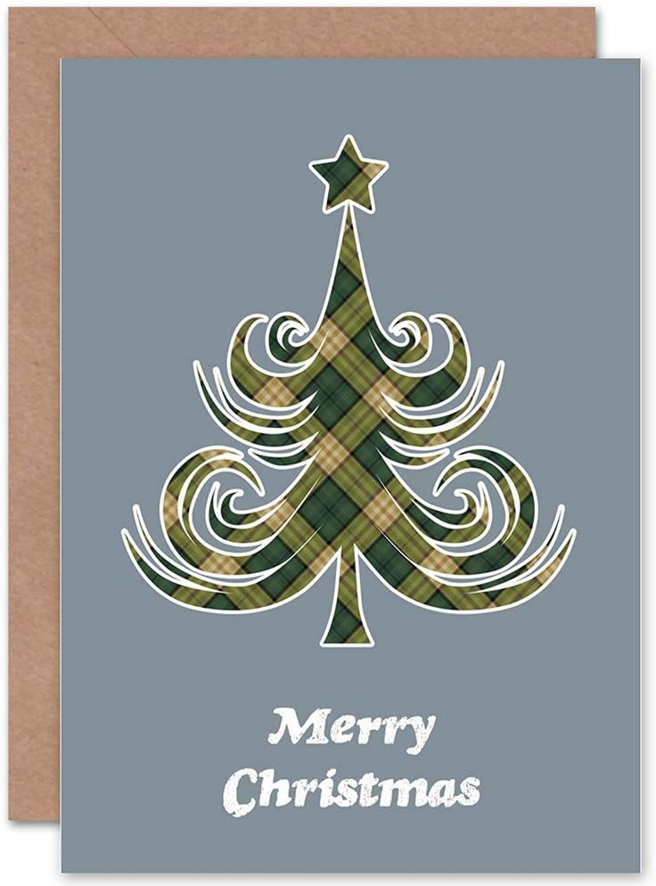 Wee Blue Coo Świąteczne Boże Narodzenie TARTAN SWIRLY TREE nowa kartka podarunkowa z pozdrowieniami