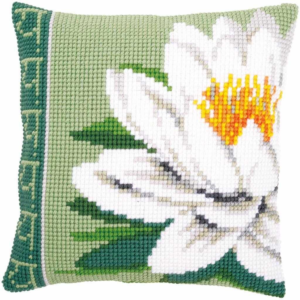 Poduszka Vervaco: Biały kwiat lotosu, akryl, wielokolorowa, 7,5 x 1 x 7,5 cm