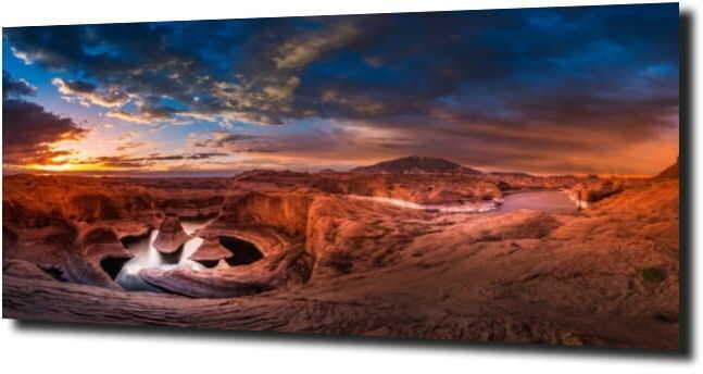 obraz na szkle Zachód słońća, kanion ,góry