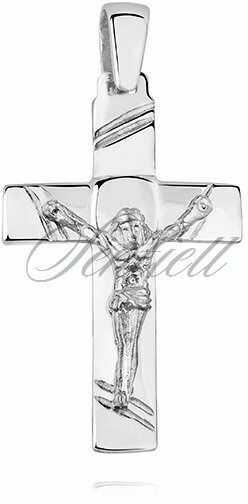 Srebrny (pr.925) krzyżyk polerowany z wizerunkiem Jezusa