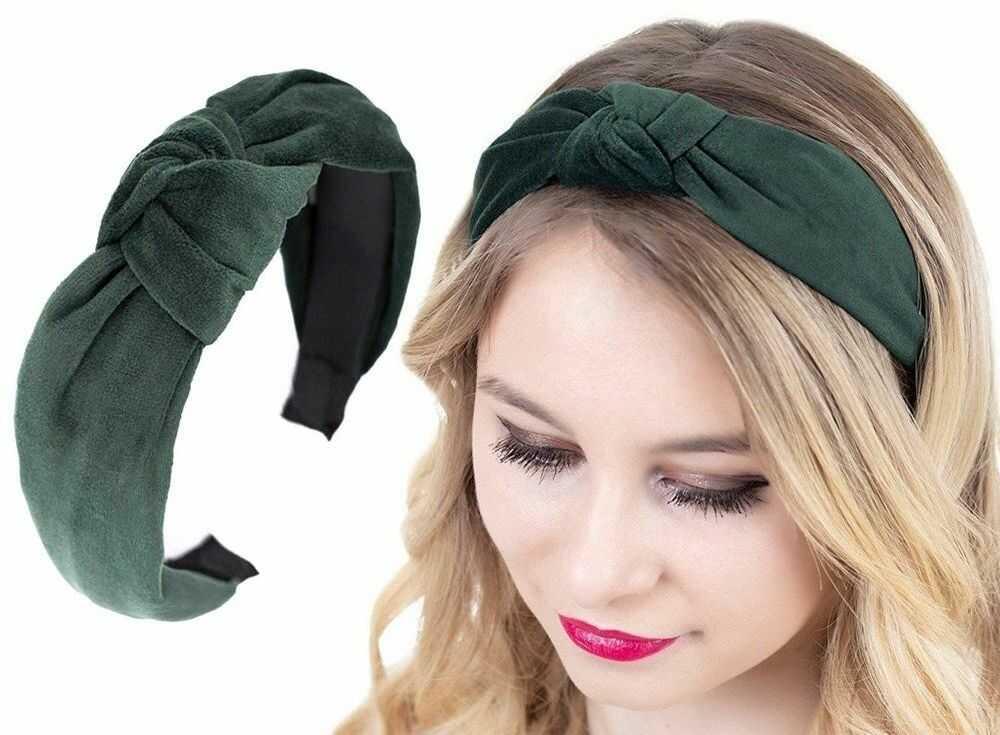 Opaska do włosów turban węzeł zielona welurowa