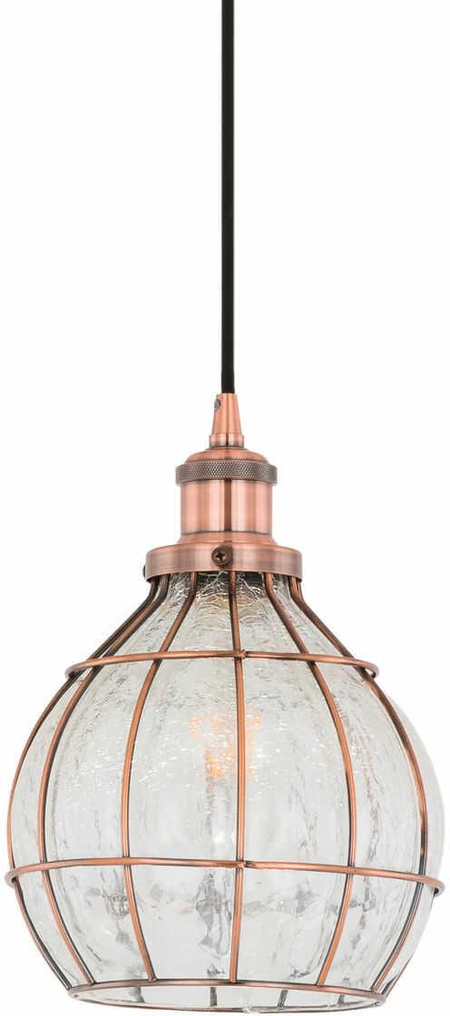 Italux Finter DS-G-78 lampa wisząca czerwona miedź 1x60W E27 20cm