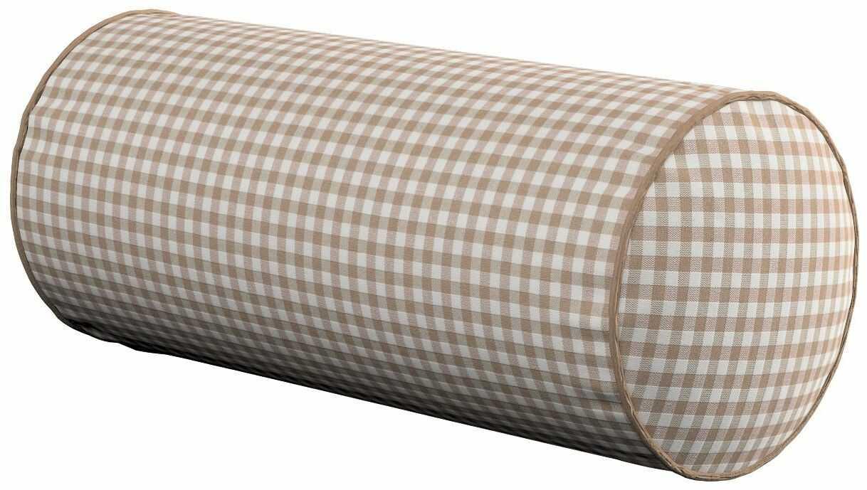 Poduszka wałek prosty, beżowo biała krateczka (0,5x0,5cm), Ø16  40 cm, Quadro