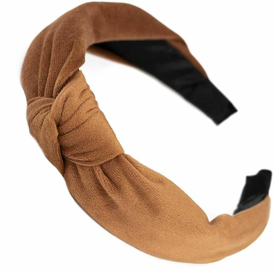 Opaska do włosów turban węzeł beżowa welurowa