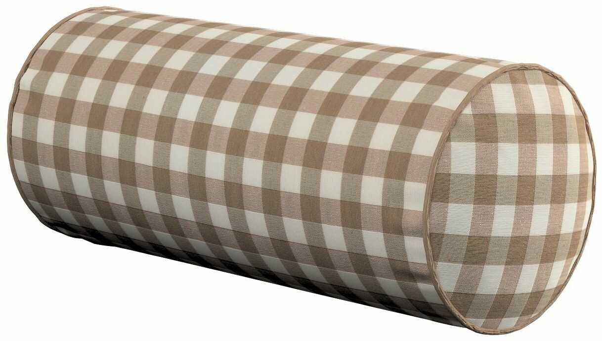 Poduszka wałek prosty, beżowo biała kratka (1,5x1,5cm), Ø16  40 cm, Quadro