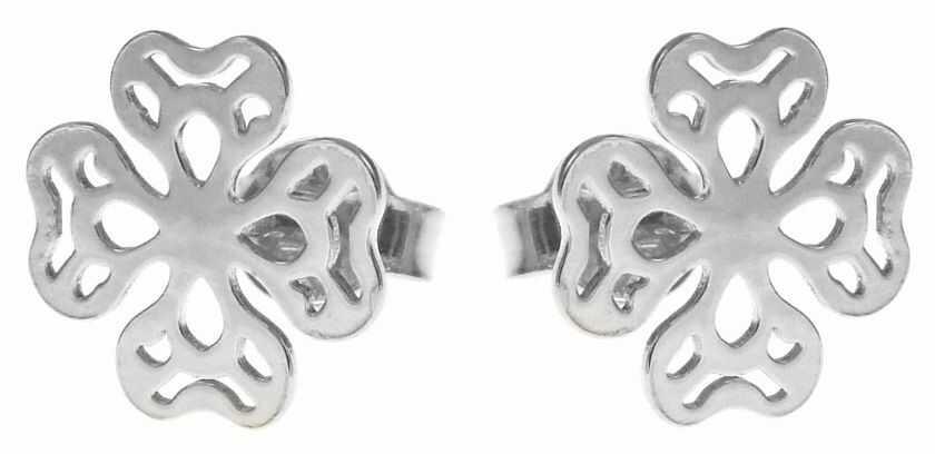 Delikatne rodowane srebrne ażurowe kolczyki koniczyna koniczynka celebrytka srebro 925 V005S